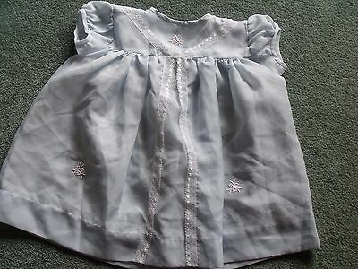 Vintage baby dress, blue terrylene, lace decoration