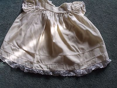 Vintage baby dress, cream Courtelle fabric, looks like cotton, lace trim, tucks