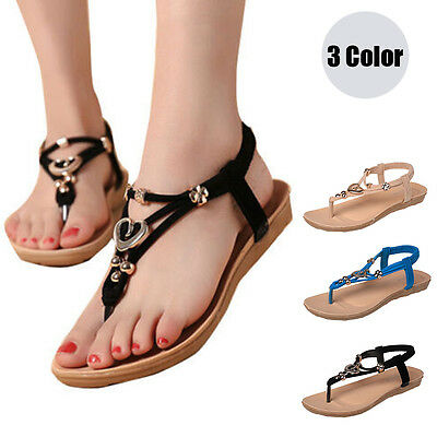 Women's Boho Sandals T-strap Flip Flop Casual Flats Thong Beach Open Toe Shoes
