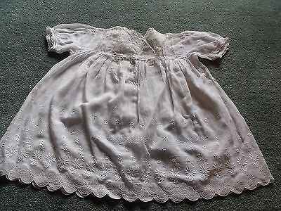 Antique baby dress, white broderie anglais muslin/cotton, lace trim, tucks
