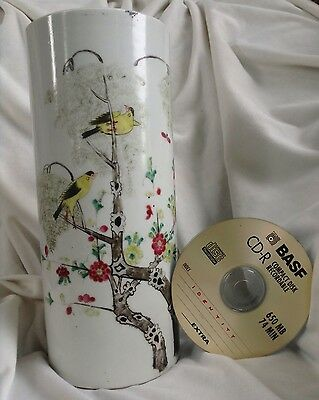 Antique Chinese Handpainted Porcelain Large Cylindrical Brush Pot Vase Bird Big