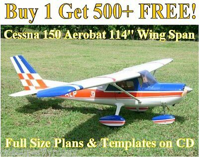 """Cessna 150 Aerobat 114"""" WS Giant Scale RC Airplane Plans & Templates on CD"""