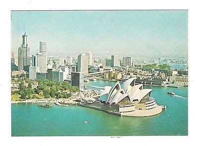 aerial view of THE SYDNEY OPERA HOUSE coloured postcard