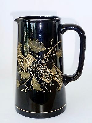 VICTORIAN c1886 MILK CUSTARD WATER JUG VASE good size JACKFIELD BLACK glaze