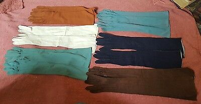 Six Pairs of Ladies Evening Gloves - Three Leather - plus two glove stretchers