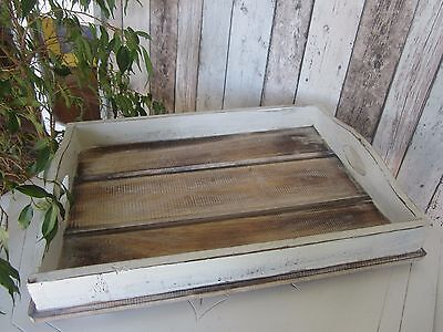 Shabby Chic White-Washed Natural Timber Solid Wood Slatted Tray – Large Size