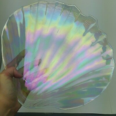 Vintage KAMEI GLASS Shell Made in Japan Carnival Iridescent Dish Centrepiece