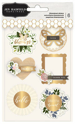 Jen Hadfield - Heart of Home Layered Stickers Pebbles 6 Pieces Multidimensional