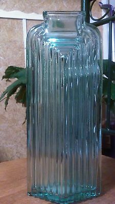 LARGE Green Tinted GLASS VASE - JAR - BOTTLE - Carafe - THICK - Abstract - URN