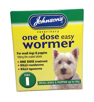 Johnson's One Dose Easy Wormer Dog Worm Worming Tablets Roundworm Tapeworm