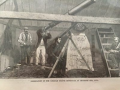 """VINTAGE WOOD ETCHING """"ECLIPSE OF THE SUN, Jefferson City IOWA, 1869""""! WOW WHAT A"""