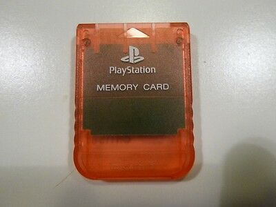 Genuine Sony Candy Orange Memory Card - PlayStation 1 PS1 PSX - Excellent cond.
