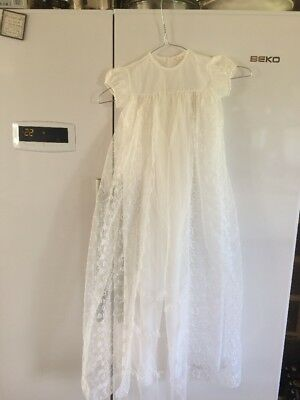 Vintage White  Lace Christening Gown