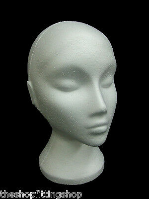 Female White Polystyrene Mannequin Wig Hat Fashion Display Head Shopfittings