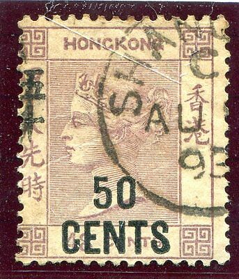 Hong Kong QV 50c on 48c Dull Purple SG49 (Z809) Shanghai