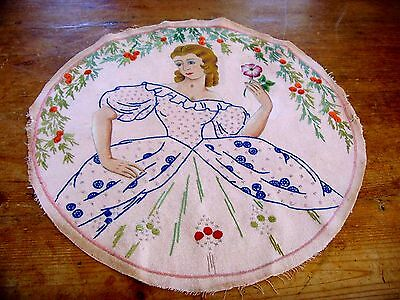 Vintage Hand Embroidered & Painted Picture Panel Beautiful Crinoline Lady Flora