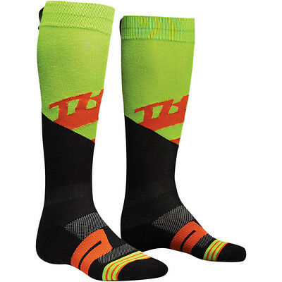 New Thor Racing Mx Moto Knit Sock Rive Lime/red Mens Adult Guys Socks Sizes 6-15