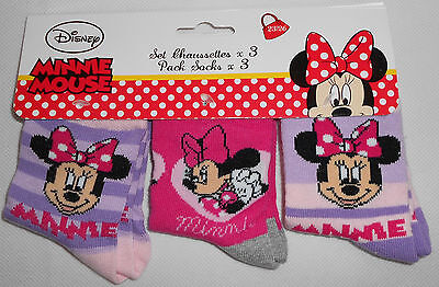 Minnie Mouse 3er Pack Socken Kinder Mädchen Disney 27/30 31/34 35/37