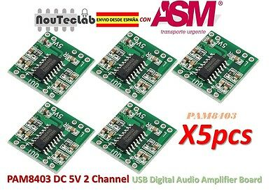 5pcs PAM8403 Audio Module Class-D Digital Amplifier Board USB Power 2.5 to 5V