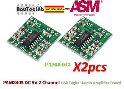 2pcs PAM8403 Audio Module Class-D Digital Amplifier Board USB Power 2.5 to 5V