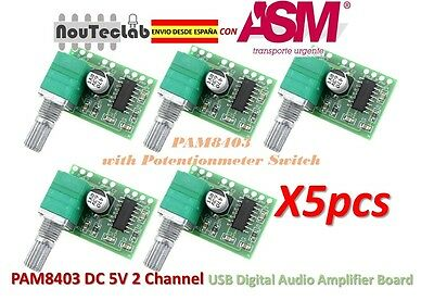 5pcs PAM8403 5V 2 Channel Digital Audio Amplifier with Potentionmeter Switch