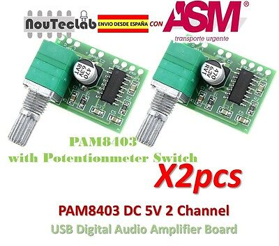 2pcs PAM8403 5V 2 Channel Digital Audio Amplifier with Potentionmeter Switch