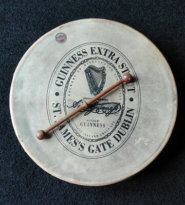 """Guinness Bodhran Made By Malachy Kearns 14"""" With Beater And Instruction Book"""
