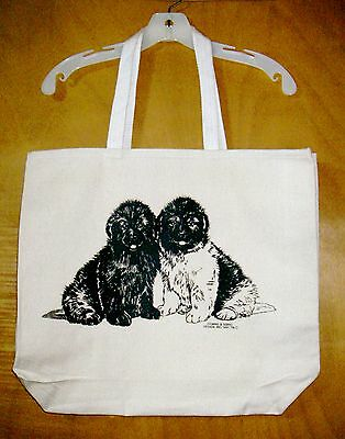 Pair of NEWFOUNDLAND PUPPIES -- Coming&Going 100% Cotton Canvas XL TOTE BAG