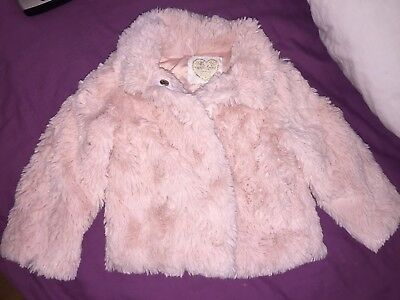 Early Days 9-12 Months Baby Girls Pink Fluffy Coat