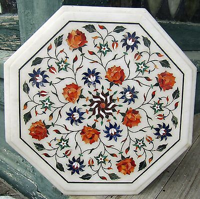 ANTIQUE VICTORIAN MARBLE TOP INLAID W FLOWERS ect PIETRA DURA