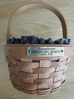 1992 Longaberger 1492-1992 Discovery Basket With Liner