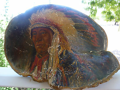 Indian Chief Painting.   Unique.  Burl wood
