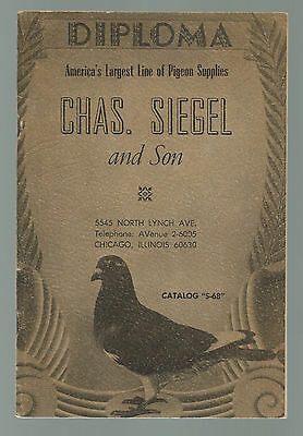VINTAGE PIGEON SUPPLIES CATALOG S-68 Chas. Siegel and Son VERY NICE CONDITION!