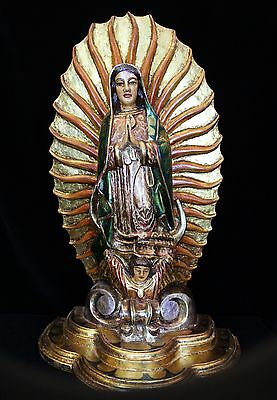 Large Gilt Hand Carved & Painted Our Lady of Guadalupe Mexico Folk Art Michoacán