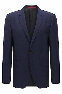 $800 HUGO BOSS men BLUE 2-BUTTON WOOL BLAZER SUIT JACKET SPORT COAT 42 R | 52 EU