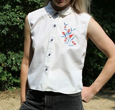 Vintage Sleeveless Button Up Top White Floral Embroidered Blouse 60's Tank S/M