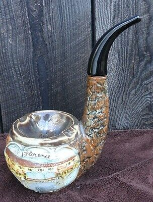 VINTAGE Vino Rosso Ceramic Pipe Shaped Ashtray Wine Decanter Florence Italy