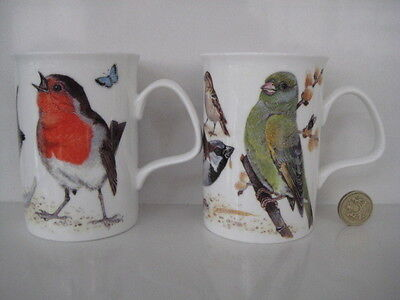 PAIR **2** OF ROY KIRKHAM TEA COFFEE ENGLISH CHINA GARDEN BIRDS MUGS 1st QUALITY