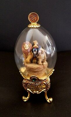 RARE Disney Franklin Mint Lion King Footed Dome Glass Egg