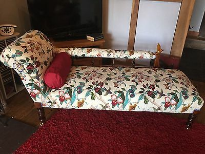 Late Victorian Chaise, Antique Oak Framed Sofa, Chaise Longue c1900