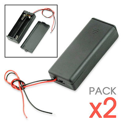 x2pcs Plastic Storage Holder Case Box For 2 AAA Battery With Wire ON/OFF Switch