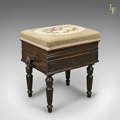 Adjustable Antique Piano Music Stool, Victorian, Needlepoint, English c.1880