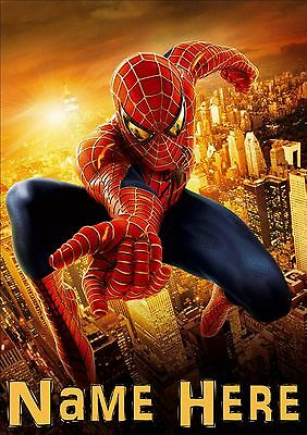 Spiderman Personalised Poster A4 Laminated, Add Any Name