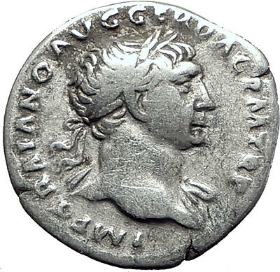 TRAJAN 103AD Rome Authentic  Ancient Silver Roman Coin Trophy  Tropaion i63408