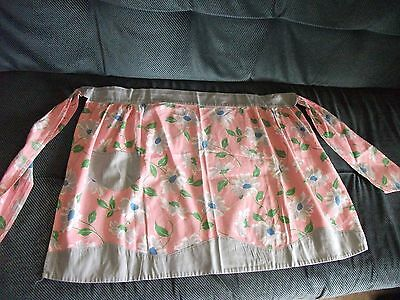 Antique VTG 1940's Feed Sack Cotton Fabric Apron Bubblegum Pink Gray Floral NICE