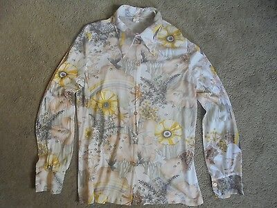 Men's Vintage 70's Disco Shirt Size 44 Groovy Design Studio 54 Era Hipster COOL