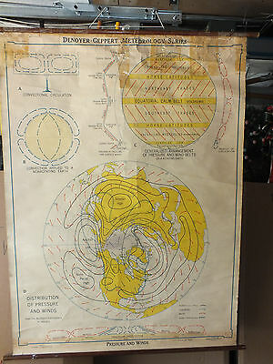 Antique Denoyer-Geppert Canvas Pull Down PRESSURE & WIND Chart 1947 60 X 44