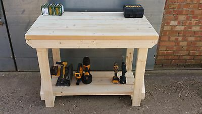 Wooden Super Heavy Duty WorkBench 4ft or 6ft Table Top/Shelf Made From 2x6 CLS