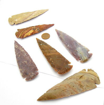 "***5 pc lot flint 3""arrowhead OH collection project spear points knife blade***"