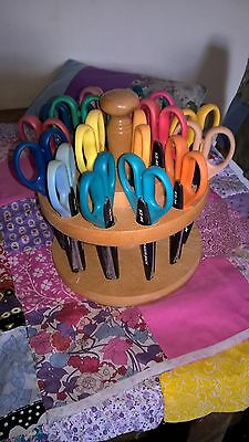 Set of 18 Pairs of Craft Scissors on Wooden Carousel *See Description*
